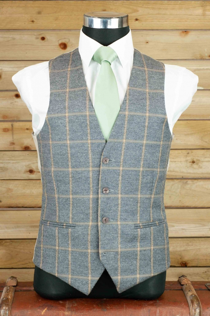 dapper-chaps-charcoal/champagne-tweed-waistcoat